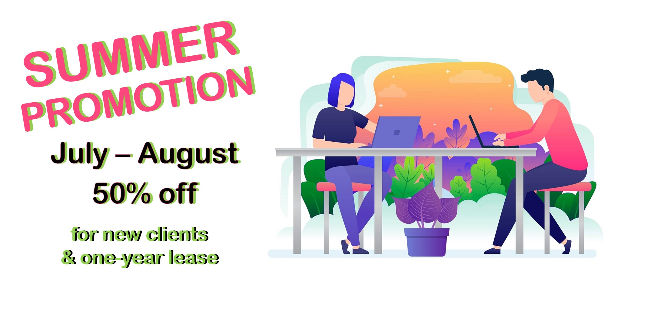 Summer promotion 50 % off